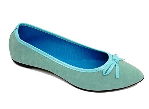Damen flach blau zum reinschlüpfen Schuhe Puppe bequem Ballet Ballerina Freizeit Pumps UK 3-8