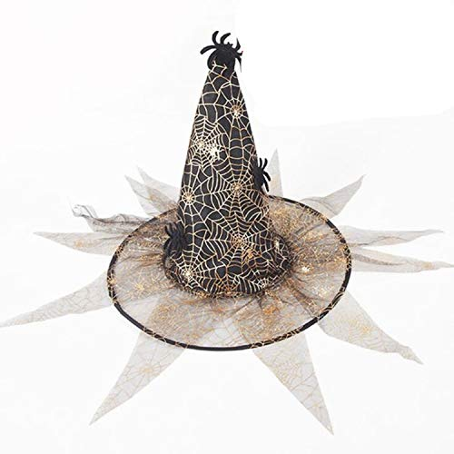 Moktasp 2019 New Veil Witch Hat Wizard Hats Caps Halloween Party Hats Masquerade Props Cosplay ()