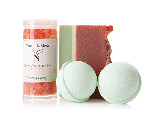 Bath / Spa Gift Set | Natural Handmade Kiwi Watermelon Soap Bar, Kiwi Watermelon Scented Dead Sea Bath Salts, 2 Melon Fizzy Bath Bombs | Gift Boxed | Made in the USA by Tatum & Shea (Melon)