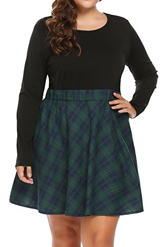 Zeagoo Women Plus Size Vintage Style Long Sleeve Plaid Patchwork Fit and Flare Swing Dress ()