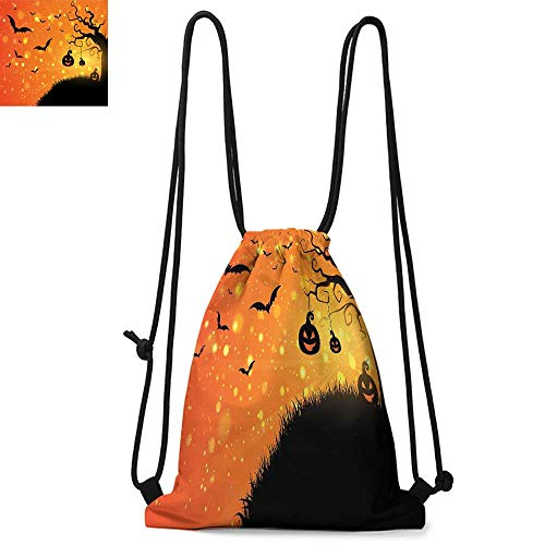 Halloween Made of polyester fabric Magical Fantastic Evil Night Icons Swirled Branches Haunted Forest Hill Waterproof drawstring backpack W13.8 x L17.7 Inch Orange Yellow Black