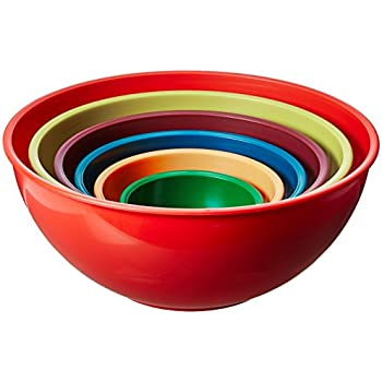 Gourmet Home Products 6 Piece Nested Polypropylene Mixing Bowl Set, Orange