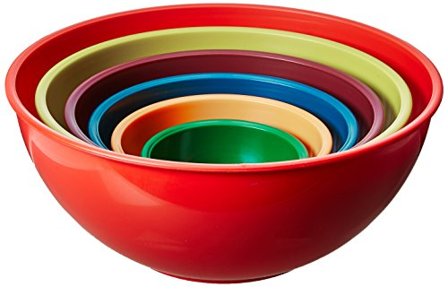 Gourmet Home Products 6 Piece Nested Polypropylene Mixing Bowl Set, Orange Microwave Safe Mixing Bowls