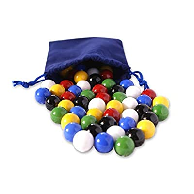 """AmishToyBox.com Bag of 60 Glass Marbles for Chinese Checkers, 5/8"""" (16mm) Diameter: Toys & Games"""