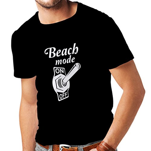 lepni.me Men's T-Shirt Beach Mode On! Humor Summer Vacation Travel Quotes (XX-Large Black Fluorescent) (Cat-amerikanische Flagge)