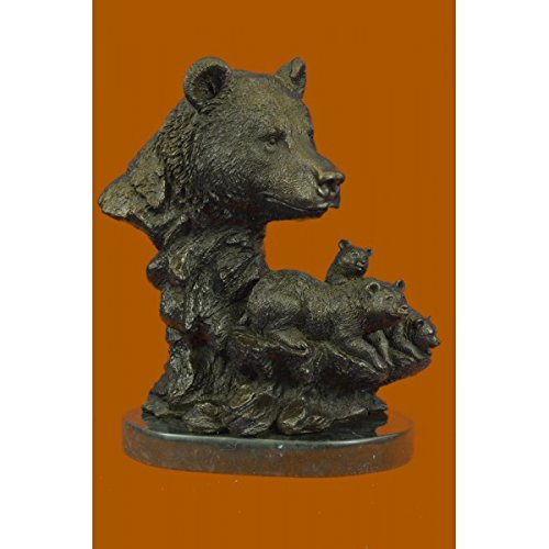 Stunning Handcrafted Museum Quality Classic Wildlife Bear Family Bronze Sculpture