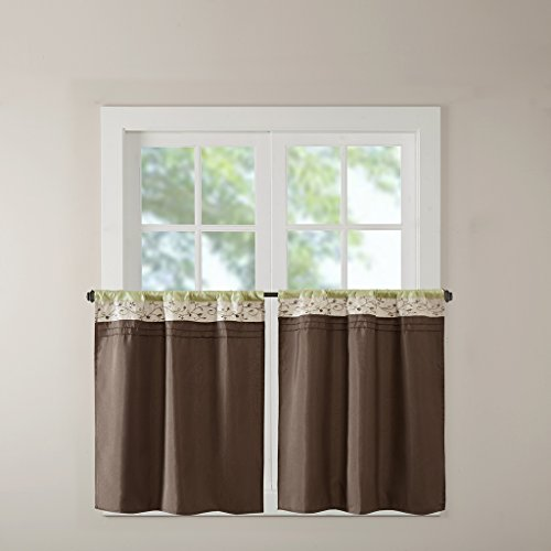 Madison Park Serene Embroidered Tier Set 2 Pieces Kitchen Curtains with Rod Pocket Finished, 30x36, Green