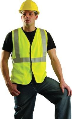 OccuNomix SSG/FR-YL Large Hi-Viz Yellow OccuLux Premium Economy Light Weight Flame Resistant Solid Modacrylic Class 2 Vest, English, 7.67 fl. oz, Plastic, 1