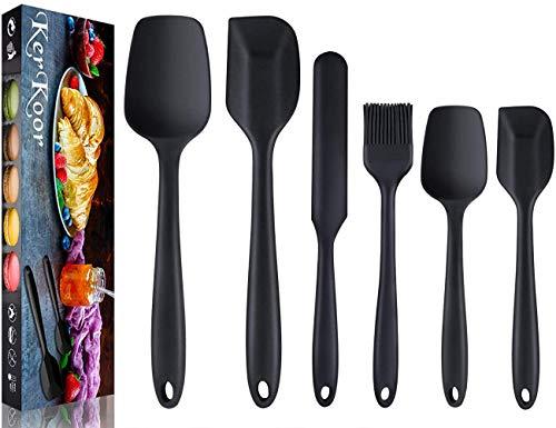 6pcs Teigschaber Silikon,Silikon Spatel Silikonschaber Hitzebeständig Küche Spatula Rührlöffel Utensilien Sets-Schwarz.