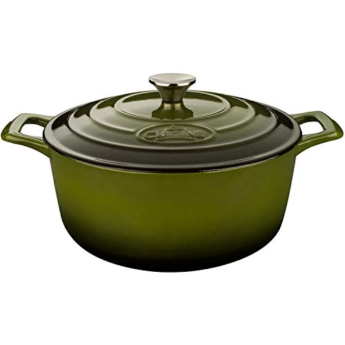 Cheap La Cuisine PRO 6.5 Qt Enameled Cast Iron Round Covered Dutch Oven, Green