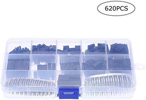 Benkeg 620個2.54mmピッチ1/2/3/4/5/6ピンハウジングコネクタおよびオスメスデュポン圧着ピンアダプタアソートメントキット