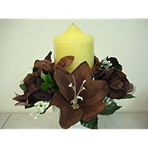 """JumpingLight Lot of 3 Choco Rose & Lily Silk Flowers 3"""" Candle Rings Silk Artificial 693CHO Artificial Flowers Wedding Party Centerpieces Arrangements Bouquets Supplies"""