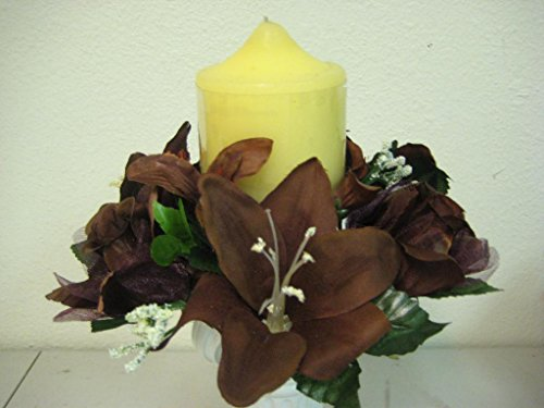 JumpingLight Lot of 3 Choco Rose & Lily Silk Flowers 3'' Candle Rings Silk Artificial 693CHO Artificial Flowers Wedding Party Centerpieces Arrangements Bouquets - Candle Lily Ring Calla
