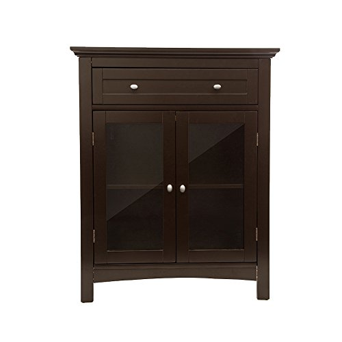 - Glitzhome Wooden Free Standing Storage Cabinet with Drawer and Glass Double Doors, Espresso