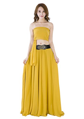 Sinreefsy Women Summer Chiffon High Waist Pleated Big Hem Full/Ankle Length Beach Maxi Skirt(Medium/Mustard Yellow)