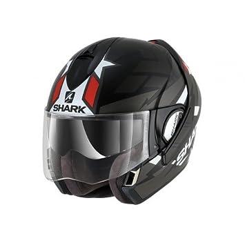 Shark casco de moto Evoline 3 Strelka, Negro/Blanco/Rojo, talla XS