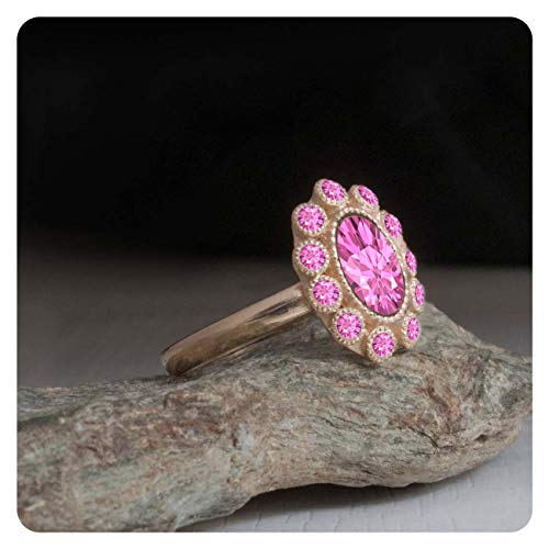 (RUDRAFASHION Pink Sapphire Engagement Cluster Ring Petal Ring 14k Rose Gold Plated for Womens)