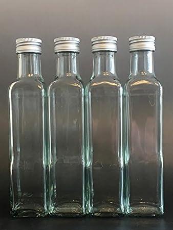12 botellas de cristal vacías Maraska de 250 ml y ETIKETTEN para escribir, incluye tapón de rosca plateado, rectangular, para rellenar, para licor