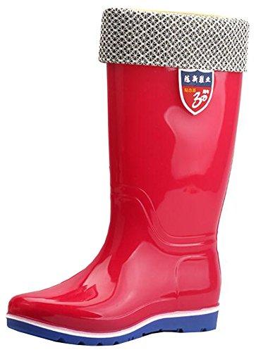Comfortabele Dames Ronde Neus Van Idifu Lage Wig Hielen Regenlaarzen Pull-up Mid-rode Wellingtons Rood 1