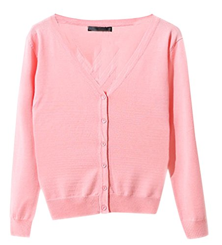 Pulls Avec Pull Col Top Basic Haut Gilet Boutons Cardigans Jumper Rose Tricot Cardigan Ladies Manches Pull Casual Chandail Femme V Longues Classique 6pwqwx4