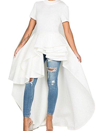 Mid Fashion Comfy White Women Dress Elegant Solid Hem Ruffled Big Length w0F0A