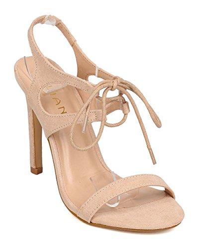 Liliana FK01 Women Faux Suede Open Toe Lace Tie Stiletto Sandal - Nude (Size: 8.0)