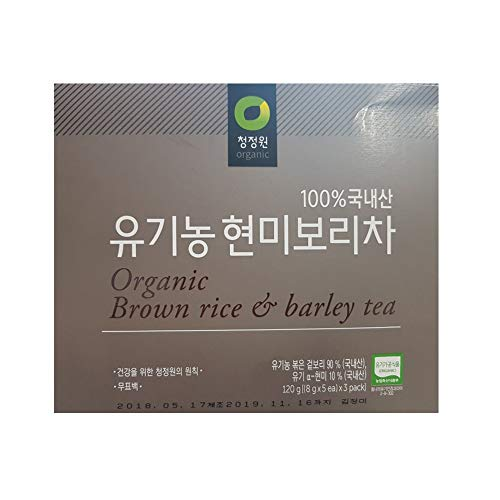 100% Organic brown rice barley Tea, 8 g X 15 Unbleached Teabags, Sugar Free, Caffeine ()