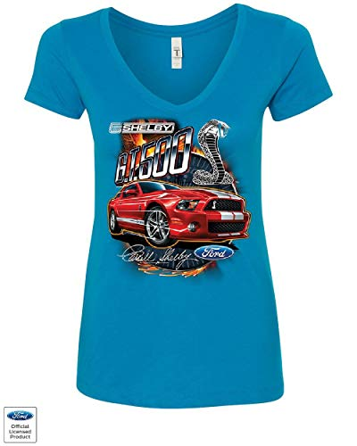 Ford Mustang 2014 Shelby GT500 Cobra Women's V-Neck T-Shirt American Muscle Car Turquoise L