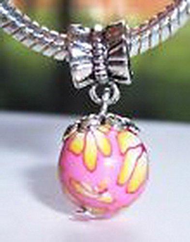 - Glamorise Beads #14226 Pink Yellow Flower Fimo Clay Ball Dangle Charm Bead for Silver European Bracelet