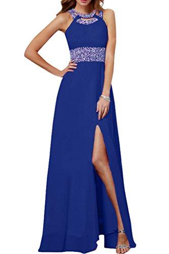 Damen Schlitz Ivydressing Royalblau Linie Steine Abendkleid Chiffon Stilvoll A Festkleid Promkleid Lang qw7C7d4