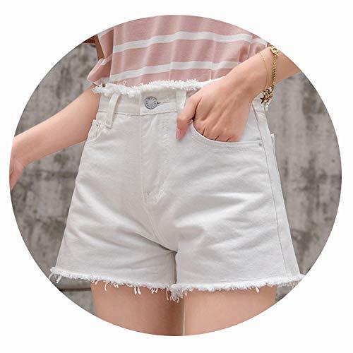 InnovativeVersionSin Jean Shorts 2019 Summer Woman Short Jeans Sexy Holes Hot Short-Pants High Waist Femme Mini Short korte broek Dames,White 8011,28
