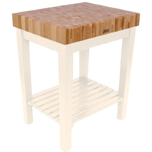 American Heritage Chef's Block Prep Table with Butcher Block Top Base Finish: Alabaster White, Shelves: 1 Included
