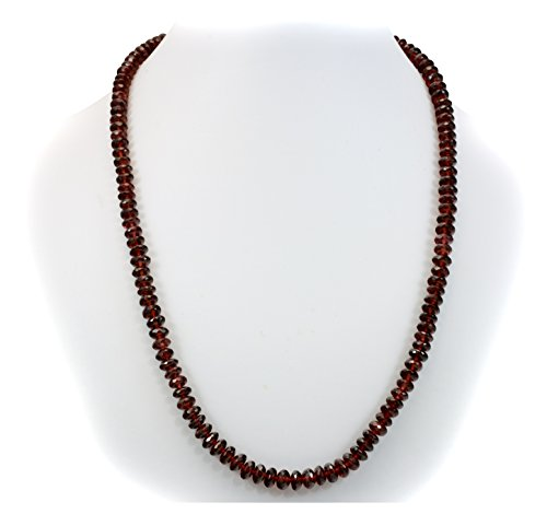 Silver Faceted Garnet Necklace (Sterling Silver Red Garnet Necklace Faceted Rondelles Solid Strand Rondelles Cut 20 Inch)