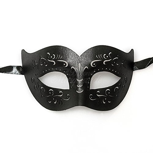 BeyondMasquerade Mens Masquerade Mask Black Leather Prom Party Mask