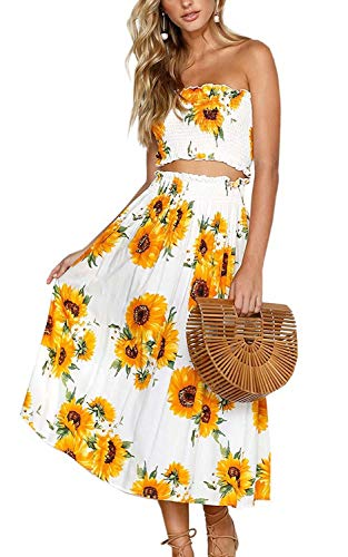 Women Summer 2 Piece Outfit Floral Bandeau Crop Top with Maxi Skirt Set Size S(US 4) ()
