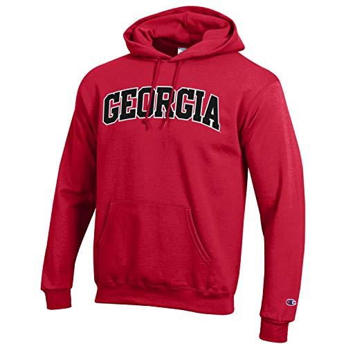 (Champion NCAA Georgia Bulldogs Men's Eco Powerblend Hooded Sweat Shirt, Large, Scarlet)