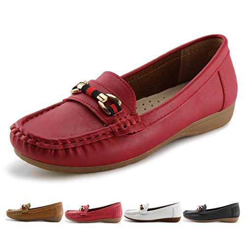 Jabasic Women's Slip-on Loafers Flat Casual Driving Shoes Red-1