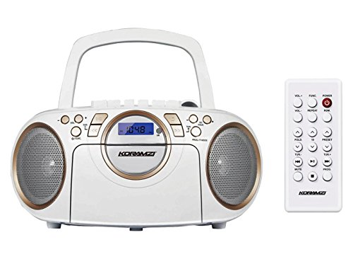 Koramzi Portable CD Boombox Full Range Stereo Sound System Top-Loading MP3 CD Player, Cassette Player and Recorder, AM/FM, USB, Headphone & AUX / Remote Control-CD705CWH(White) (Certified Refurbished) by Koramzi