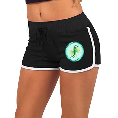 Women's Dolphin Running Workout Shorts Serene Yin Yang Dolphin Yoga Sexy Short Pant Black