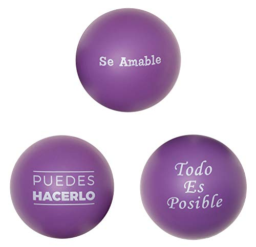 Cute Stress Ball for Adults & Kids in Spanish -Motivational Stressball (Sensory Toys for Autistic Children) For Teacher Gifts, Students, Figit Toys, College Care Packages (Classroom Prizes) 3Pk/Purple