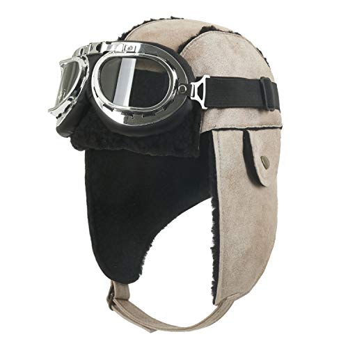 ililily Aviator Hat Winter Snowboard Fur Ear Flaps Trooper Trapper Pilot Goggles, Beige ()