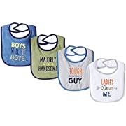 Luvable Friends Baby Baby Drooler Bib, 4 Pack, Majorly Handsome, One Size