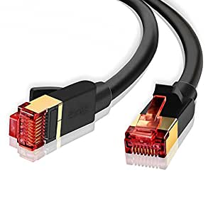 IBRA 6 Feet CAT 7 RJ45 Ethernet LAN Network Cable / CAT7 (Advanced) / 10Gbps 600MHz / S/STP Molded Network / Gold Plated Plug STP wires / Ethernet Patch LAN Router Modem / Black Round