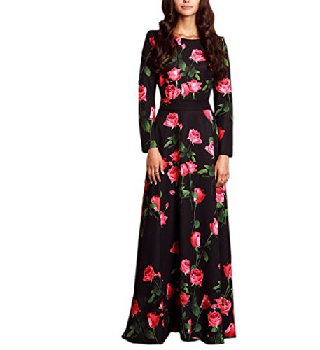 Engood Womens Elegant O-neck Floral Printed Full Sleeves Maxi Long Vintage Dress