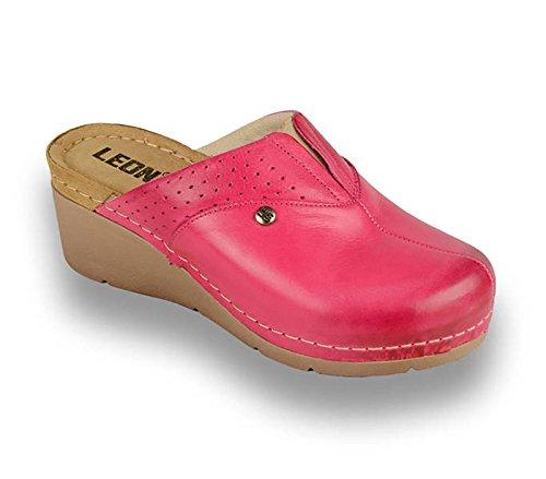 Zapatos Cuero Leon Rosa Zapatillas Mujer Zuecos 1002 De Para qPPO7Xx