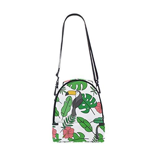 y ajustable Bolsa hojas almuerzo diseño correa de Alinlo térmica pájaros para hombro el de con el tucán para 7dqq6PB