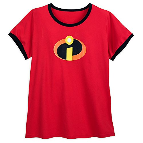 Disney Incredibles Logo Ringer T-Shirt Plus Size 3XL Red - Logo Womens Ringer T-shirt