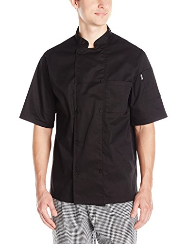 Chef Code Men's Short Sleeve Unisex Cool Breeze Chef Coats, Black, Medium
