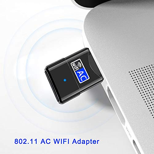 Mini USB WiFi Adapter - Portable Dual Band 2.4G/5G Mini Wi-fi AC Wireless Network Card Dongle with High Gain Antenna for Desktop Laptop PC Support Windows XP Vista/7/8/8.1/10 - Upgraded, No CD Needed