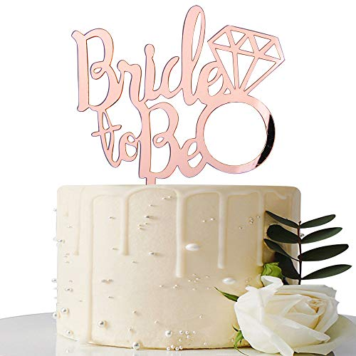 Mirror Rose Gold Bride to Be Cake Topper - for Bridal Shower/Wedding Shower/Engagement/Bachelorette/Hen Party - Wedding Shower Cake